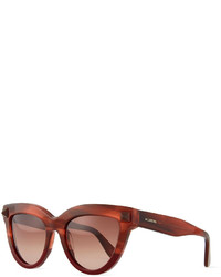 Valentino Pyramid Stud Cat Eye Sunglasses Burgundy
