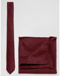 Tie and pocket square pack in textured burgundy medium 958894