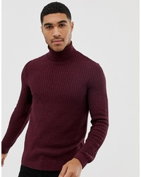 ASOS DESIGN Muscle Fit Cable Roll Neck Jumper In Burgundy