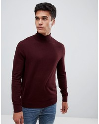 Burton Menswear Roll Neck Jumper In Burgundy