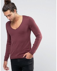 Asos Muscle Fit Sweater With Deep V Neck