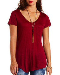 Burgundy V-neck T-shirt