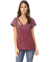LnA Distressed Fallon V Neck Tee