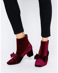 Asos Rayal Velvet Bow Ankle Boots