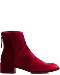 Women's Burgundy Velvet Ankle Boots from