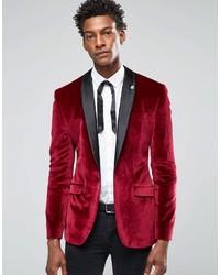 Asos Brand Skinny Velvet Blazer In Burgundy