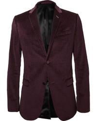 Burgundy embossed velvet blazer medium 317638