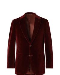 Canali Burgundy Slim Fit Cotton Velvet Blazer