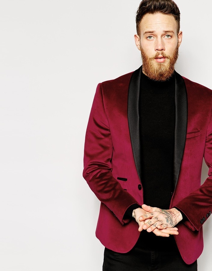 Red Eleven Plain Velvet Jacket Shawl Collar | Where to buy & how ...