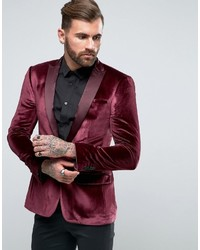 Asos Super Skinny Blazer In Burgundy Velvet