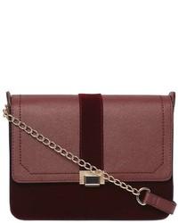 Burgundy Velvet Crossbody Bag