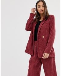 PrettyLittleThing Co Ord Blazer In Raspberry Cord