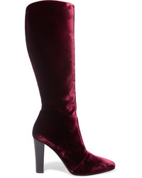 Saint Laurent Lily Velvet Knee Boots Plum