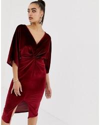 Missguided Velvet Plunge Twist Front Midi Dress In Dark Red