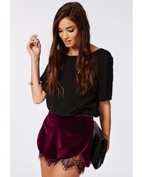 Burgundy Velvet Shorts