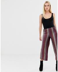 ASOS DESIGN Glitter Stripe Cropped Straight Leg Trouser