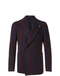 Burgundy Vertical Striped Double Breasted Blazer