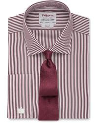 Burgundy Vertical Striped Dress Shirt