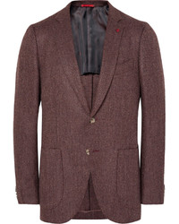 Burgundy slim fit herringbone wool and cashmere blend blazer medium 542785