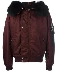 Burgundy Wool Bomber Jacket