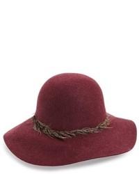 Hinge Feather Trim Floppy Hat Black