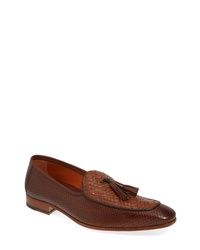 Burgundy Woven Leather Tassel Loafers