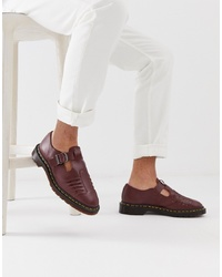 Dr. Martens Mica Woven Sandals In Oxblood