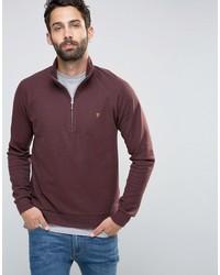 Farah Sweatshirt With 14 Zip In Regular Fit Port