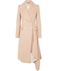 Alexander McQueen Asymmetric Double Breasted Frayed Wool And Cashmere Blend Coat