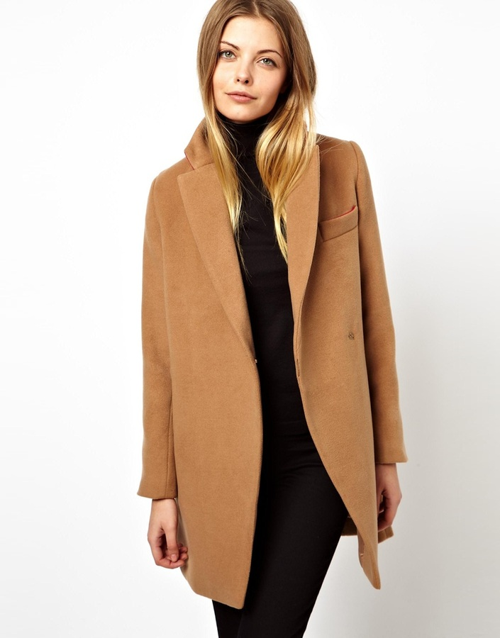 Asos Petite Petite Coat With Contrast Collar Black | Where to buy ...