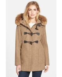 Pendleton Berkley Wool Blend Twill Duffle Coat With Genuine Coyote Fur Trim