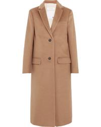 Valentino Stud Embellished Camel Hair Coat Tan