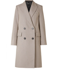 Theory Genesis Double Breasted Houndstooth Cotton And Wool Blend Coat