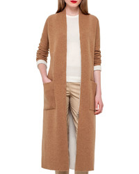 Akris Long Knit Reversible Car Coat Camelmoonstone