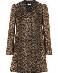 Redvalentino bow embellished leopard jacquard coat medium 85188