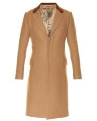 Alexander McQueen Contrast Collar Single Breasted Camel Wool Coat