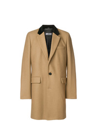 Just Cavalli Contrast Collar Single Breasted Coat