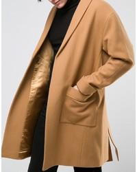 Asos Overcoat With Belt In Camel