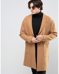 Asos Overcoat With Belt In Camel