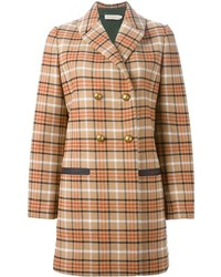 Tory Burch Checked Double Breasted Coat