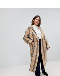 Asos Curve Wool Coat In Check