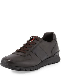 Prada Leather Running Sneaker Brown