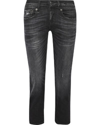 R 13 R13 Boy Straight Mid Rise Boyfriend Jeans Gray