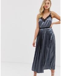 Little Mistress Contrast Eyelash Lace V Neckline Cami Midi Dress