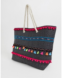 South Beach Tote Bag With Multi Coloured Tassels