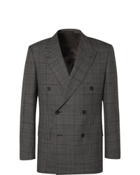 Kingsman Grey Slim Fit Double Breasted Prince Of Wales Checked Wool Suit Jacket