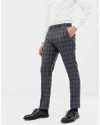 Farah Smart Farah Slim Fit Check Suit Trousers In Grey