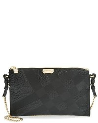 Burberry Peyton Grain Check Embossed Leather Crossbody Bag