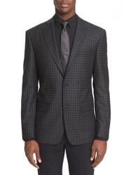 Star usa trim fit check wool sport coat medium 806408