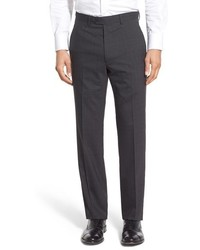 Santorelli Flat Front Check Stretch Wool Trousers